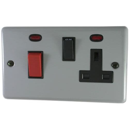 G&H CLG29B Standard Plate Light Grey 45 Amp DP Cooker Switch & 13A Switched Socket
